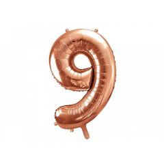 Balon Folie Figurina, Cifra 9, Rose gold