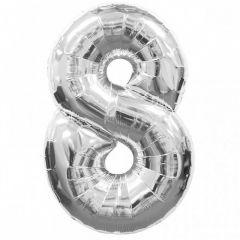 Balon folie figurina, Cifra 8, Argintiu