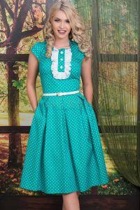 Rochie bumbac verde Lavinia cu jabou
