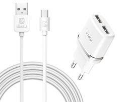 Set incarcator retea Kaku , alb, dual 2.4A, 2xUSB, fast charge si cablu compatibil Samsung USB-Type C