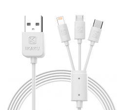 Cablu Kaku de date/incarcare 3 in 1 , micro-USB, type C, Lightning, Fast charging USB 2.8, 1m, Alb