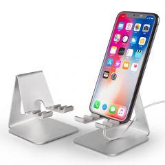 Suport universal de birou cu 3 unghiuri de inclinare, pentru telefon sau tableta, din aluminiu, argintiu