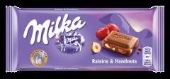 Ciocolata cu lapte, stafide si alune Milka 100g