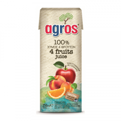 Suc natural 4 fructe 100% natural Agros 0.25l