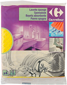 Lavete pentru vesela si menaj Carrefour 20x18cm, 4buc