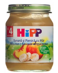 Piure din banana, piersica si mar pentru bebelusi 4 luni+ Hipp 125g