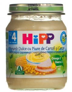 Piure cu porumb dulce, cartofi si curcan 4 luni+ Hipp 125g