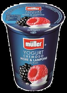 Iaurt cu bucati de mure si zmeura Muller 500g
