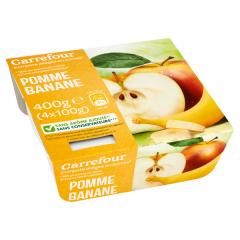 Piure mere si banane Carrefour 4x100Gr