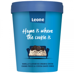 Inghetata cu aroma de vanilie si bucati de biscuiti cu cacao Leone 450ml