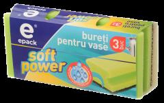"Bureti ""soft power"" cu caneluri Epack, pentru vase, 3 bucati"