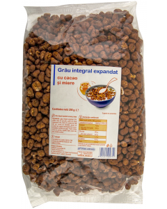 Grau integral expandat cu cacao si miere Carrefour 250g