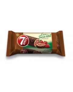 Rulada cu glazura de cacao si umplutura de capsune si vanilie 7Days 200g