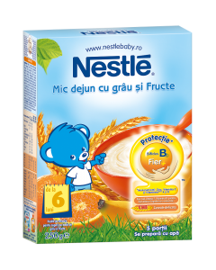 Cereale cu grau si 5 fructe pentru sugari 8 luni+ Nestle Mic dejun 250g