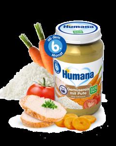 Piure bio de legume cu orez si curcan Humana 190g