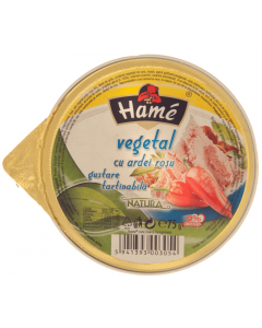 Pate vegetal cu ardei rosu gustare tartinabila Hame 75g