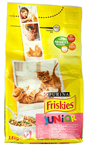 Hrana uscata cu pui, lapte si legume pt pisici Purina Friskies Junior 1.5kg
