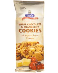 Cookies cu ciocolata alba si merisor Merba 200g