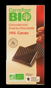 Ciocolata neagra 74%cacao Carrefour Bio 100g