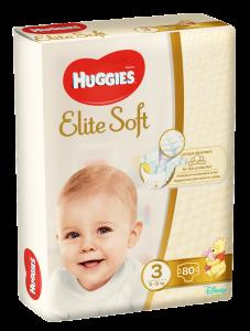 Scutece bebelusi nr.3 5-9kg Huggies Elite Soft 80buc
