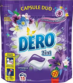 Detergent automat capsule Dero Duo Caps Lavanda, 15spalari, 15bucati