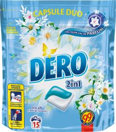 Detergent automat capsule Dero Duo Caps Iris alb, 15 spalari, 15 buc