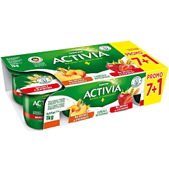 Iaurt cu musli si capsuni/piersica Activia (7+1)X125g