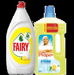 Pachet Promo: Detergent de vase Fairy Lemon, 1.35 l + Detergent Mr. Proper Universal baie, 1 L