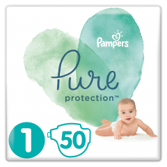 Scutece Pure Protection marimea1, 2-5 kg Pampers 50buc
