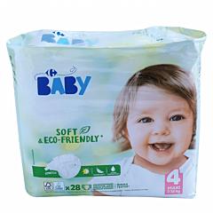 Scutece ecologice Carrefour Baby pentru bebelusi, Marimea 4, 7-18 kg, 28buc