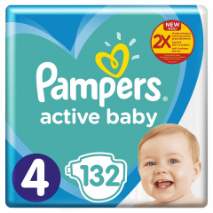 Scutece Active baby mega pack, marime 4, 9-14 kg, Pampers 132buc