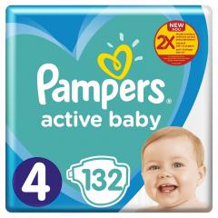 Scutece Pampers Active Baby Mega Box, Marimea 4, 9 -14 kg, 132 buc