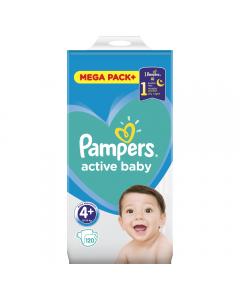 Scutece Pampers Active Baby Marimea 4+, 10-15 kg, 120 buc