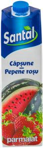 Bautura racoritoare necarbogazoasa din suc de capsuni si pepene rosu Santal 1L