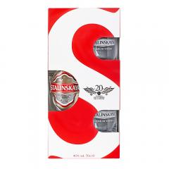 Pachet Vodka Stalinskaya 0.7L cu 2 pahare