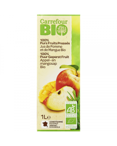 Suc Bio de mere si mango 100% natural Carrefour Bio 1L