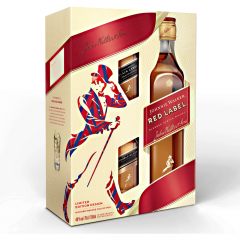 Pachet whisky scotian 40%alcool cu 2 miniaturi Johnnie Walker Red 0.8l