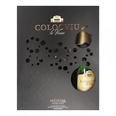 Pachet 1 sticla vin spumant alb brut natur Colocviu la Viena 750ml si 2pahare