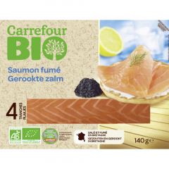 Somon afumat felii Carrefour Bio 140g