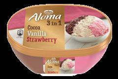Inghetata 3 in 1 ciocolata, vanilie si capsuni Aloma 900ml