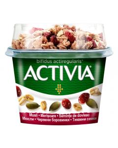 Iaurt Activia mic dejun cu musli, merisoare si seminte de dovleac, 170g