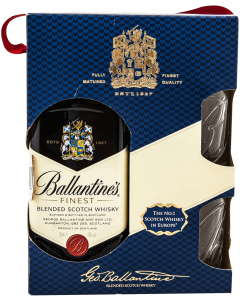 Pachet scotch whisky 40% alcool Ballantine's 0.7l cu 2 pahare