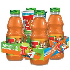Pachet mix suc de morcovi si fructe cu pahar cadou Tedi 4x0.3l