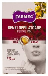 Benzi depilatoare pentru fata cu ulei de argan Farmec 20buc