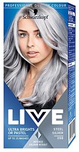 Vopsea de par semipermanenta ultra brights 098 steel silver Schwarzkopf Live 80 ml