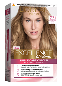 Vopsea de par blond caramel 7.31 L'Oreal Excellence Creme 192ml