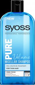 Sampon micelar Syoss Pure Volume, pentru par subtire, 500 ml