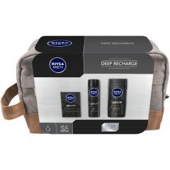 Set cadou Deep Recharge lotiune, deodorant si gel de dus Nivea Men