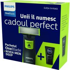 Pachet cadou Philips OneBlade QP2520 si  Nivea Men Deep