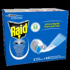Aparat cu pastile laminate anti-tantari Raid 10buc